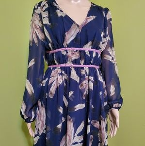 NWT entro light as a feather navy dress flowy M